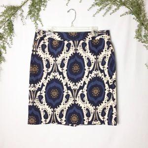 [J. Crew] Ikat Blue Stretch Skirt Size 14